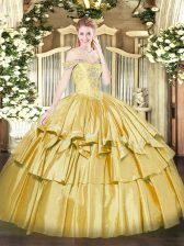 Fitting Gold Off The Shoulder Neckline Beading and Ruffled Layers 15 Quinceanera Dress Sleeveless Lace Up