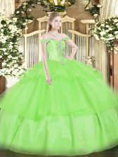 Designer Off The Shoulder Sleeveless Lace Up Quinceanera Gowns Organza