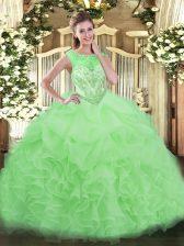 Apple Green Sweet 16 Dress Organza Sleeveless Beading and Ruffles