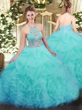 Suitable Aqua Blue Ball Gowns Ruffles Vestidos de Quinceanera Lace Up Tulle Sleeveless Floor Length