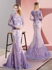 Luxury Mermaid Long Sleeves Lavender Dress for Prom Sweep Train Zipper