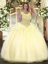 Sumptuous Organza Sleeveless Floor Length Sweet 16 Dress and Beading