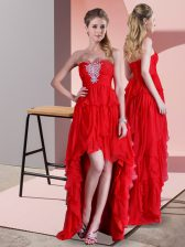 Excellent Sleeveless High Low Beading Lace Up Prom Party Dress with Red Sweep Train