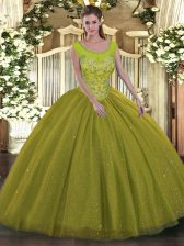 Dazzling Olive Green Sleeveless Floor Length Beading Backless 15 Quinceanera Dress