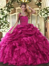 Most Popular Hot Pink Quinceanera Dresses Military Ball and Sweet 16 and Quinceanera with Ruffles and Pick Ups Halter Top Sleeveless Lace Up