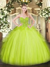 Top Selling Sleeveless Lace Lace Up Quinceanera Gowns