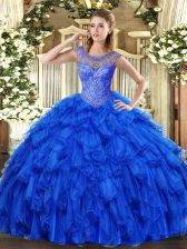 Colorful Royal Blue Ball Gowns Organza Scoop Sleeveless Beading and Ruffles Floor Length Lace Up Quinceanera Dress