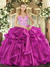 Unique Fuchsia Straps Lace Up Beading and Appliques and Ruffles Sweet 16 Dresses Sleeveless