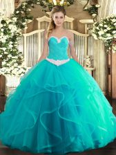 Delicate Turquoise Quinceanera Dresses Military Ball and Sweet 16 and Quinceanera with Appliques and Ruffles Sweetheart Sleeveless Lace Up