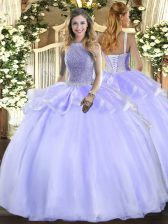 Lavender Organza Lace Up Sweet 16 Quinceanera Dress Sleeveless Floor Length Beading