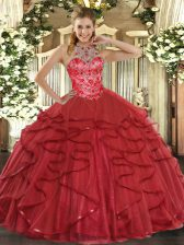 Coral Red Quinceanera Dress Military Ball and Sweet 16 and Quinceanera with Beading and Ruffles Halter Top Sleeveless Lace Up