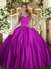 Ruching Quinceanera Dresses Fuchsia Lace Up Sleeveless Floor Length