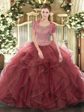 Elegant Beading and Ruffled Layers Quinceanera Gown Burgundy Clasp Handle Sleeveless Floor Length