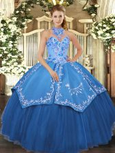 Halter Top Sleeveless Satin and Tulle Sweet 16 Quinceanera Dress Beading and Embroidery Lace Up