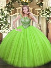 Chic Scoop Sleeveless Quince Ball Gowns Floor Length Beading Tulle and Sequined