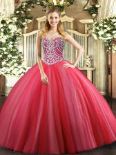 Sexy Floor Length Lace Up Sweet 16 Dresses Coral Red for Military Ball and Sweet 16 and Quinceanera with Beading