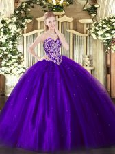 Sweet Purple Sleeveless Beading Floor Length Sweet 16 Quinceanera Dress