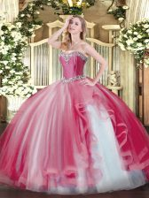 Fitting Coral Red Sleeveless Beading and Ruffles Floor Length Quinceanera Dress