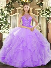Wonderful Floor Length Lace Up 15th Birthday Dress Lavender for Military Ball and Sweet 16 and Quinceanera with Beading and Ruffles