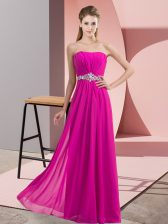 Excellent Sleeveless Chiffon Floor Length Lace Up in Fuchsia with Beading