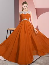 Rust Red Clasp Handle Scoop Beading Prom Party Dress Chiffon Sleeveless