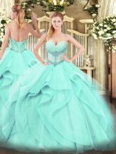 Floor Length Aqua Blue 15 Quinceanera Dress Tulle Sleeveless Beading and Ruffles