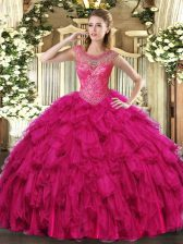 Shining Floor Length Ball Gowns Sleeveless Fuchsia Vestidos de Quinceanera Lace Up