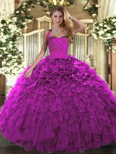 Stylish Organza Sleeveless Floor Length 15 Quinceanera Dress and Ruffles