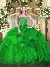Luxurious Floor Length Lace Up Sweet 16 Dress Green for Military Ball and Sweet 16 and Quinceanera with Beading and Ruffles