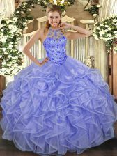 Lavender Organza Lace Up Halter Top Sleeveless Asymmetrical Sweet 16 Quinceanera Dress Beading and Ruffles