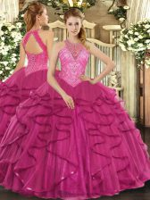 Floor Length Hot Pink Sweet 16 Dresses High-neck Sleeveless Lace Up