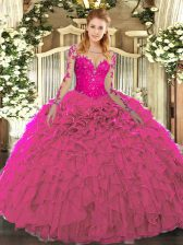 Trendy Scoop Long Sleeves Quinceanera Dress Floor Length Lace and Ruffles Fuchsia Organza