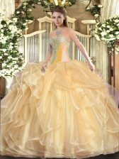 Hot Sale Organza Sleeveless Floor Length Sweet 16 Dresses and Beading and Ruffles