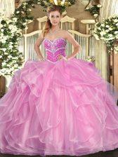 Lilac Sleeveless Beading and Ruffles Floor Length Vestidos de Quinceanera
