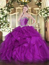 Floor Length Purple Sweet 16 Dresses Organza Sleeveless Beading and Ruffles