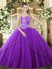 Ball Gowns Sleeveless Purple Sweet 16 Dresses Brush Train Lace Up