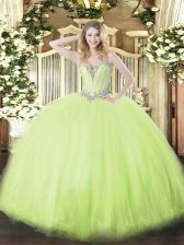 Amazing Sweetheart Sleeveless Tulle Quinceanera Gowns Beading Lace Up