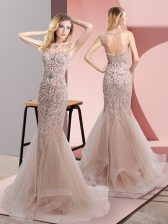 Sophisticated Tulle Scoop Sleeveless Sweep Train Zipper Beading and Ruffles Prom Dresses in Champagne