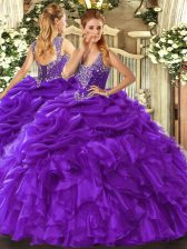 Straps Sleeveless Organza Quinceanera Dress Beading and Ruffles and Pick Ups Lace Up