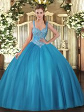 Extravagant Teal Sleeveless Floor Length Beading Lace Up Vestidos de Quinceanera