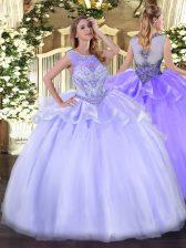 Lavender Organza Zipper Quinceanera Gown Sleeveless Floor Length Beading