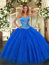Best Selling Royal Blue Lace Up Sweetheart Beading Quinceanera Dresses Tulle and Sequined Sleeveless