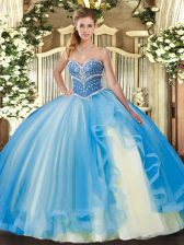 Suitable Tulle Sleeveless Floor Length Sweet 16 Quinceanera Dress and Beading and Ruffles