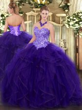 Beauteous Purple Ball Gowns Organza Sweetheart Sleeveless Appliques and Ruffles Floor Length Lace Up Ball Gown Prom Dress