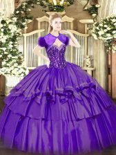 Floor Length Ball Gowns Sleeveless Purple Ball Gown Prom Dress Lace Up