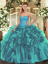 Sweetheart Sleeveless Quinceanera Dresses Floor Length Beading and Ruffles Teal Organza