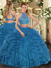 Floor Length Teal 15th Birthday Dress Halter Top Sleeveless Criss Cross