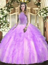 Most Popular Square Sleeveless Tulle Quinceanera Dress Beading and Ruffles Lace Up
