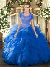 Floor Length Blue Quinceanera Dress Tulle Sleeveless Beading and Ruffled Layers