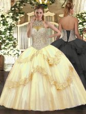 Gold Ball Gowns Beading and Appliques Sweet 16 Quinceanera Dress Lace Up Tulle Sleeveless Floor Length